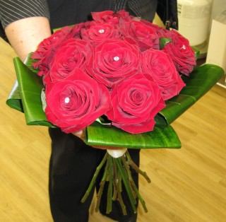 Hand Tied Red Rose Bouquet