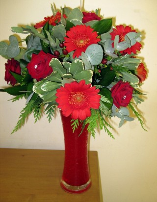 Red Vase Arrangement